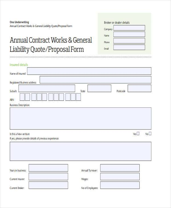Blank Proposal Forms - work proposal