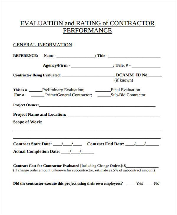 7+ Contractor Evaluation Form Samples - Free Sample, Example Format