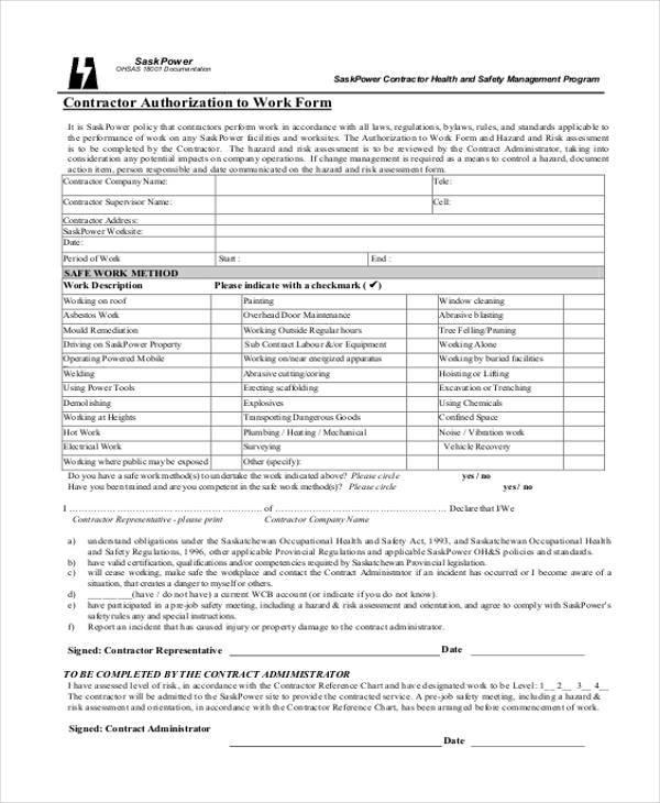 Work Authorization Form Locksmith Work Authorization Form For - Work Authorization Form