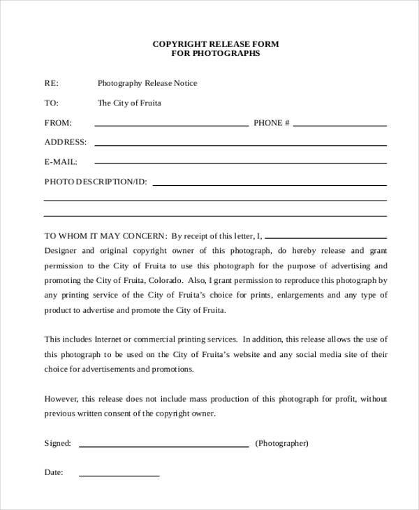Photography Copyright Release Form Printable Photography - generic photo release form