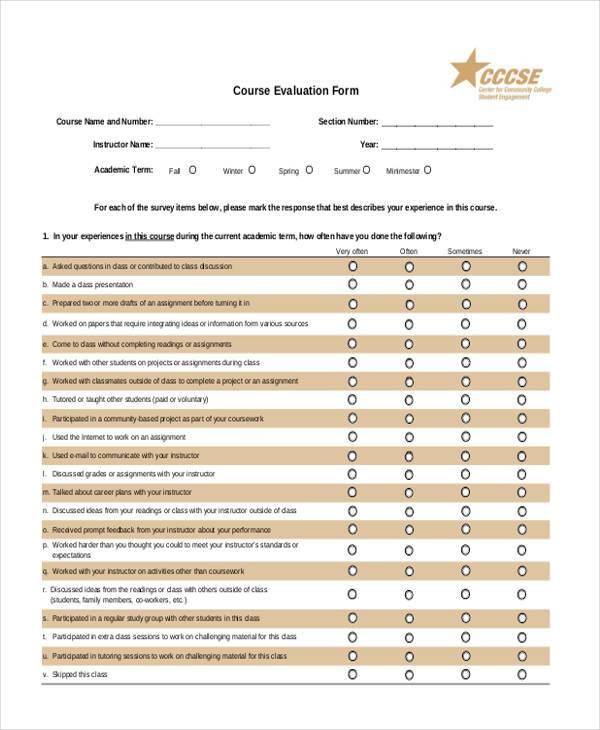 Doc#12631189 Course Evaluation Template u2013 Course Evaluations (+ - class evaluation template