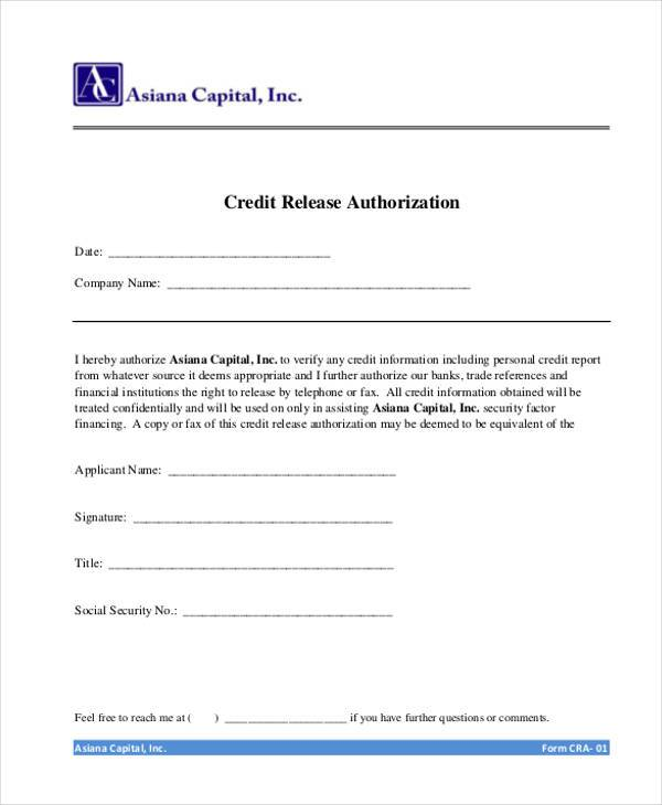 personal information release form – Credit Release Form