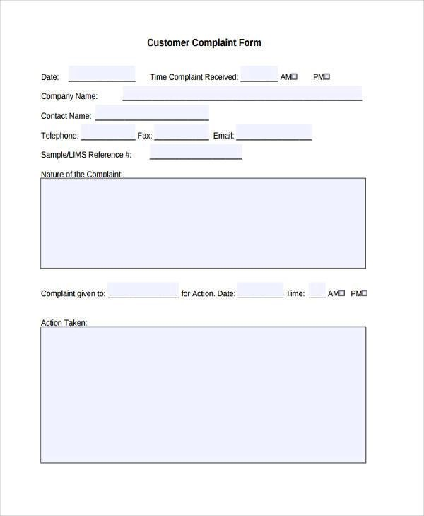 8+ Customer Complaint Form Samples - Free Sample, Example, Format - customer complaints form template