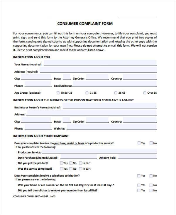 Sample General Complaint Forms - 7+ Free Documents in Word, PDF - complaint forms template