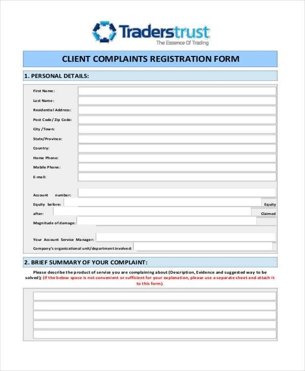 Customer Complaint Form Examples | oakandale.co