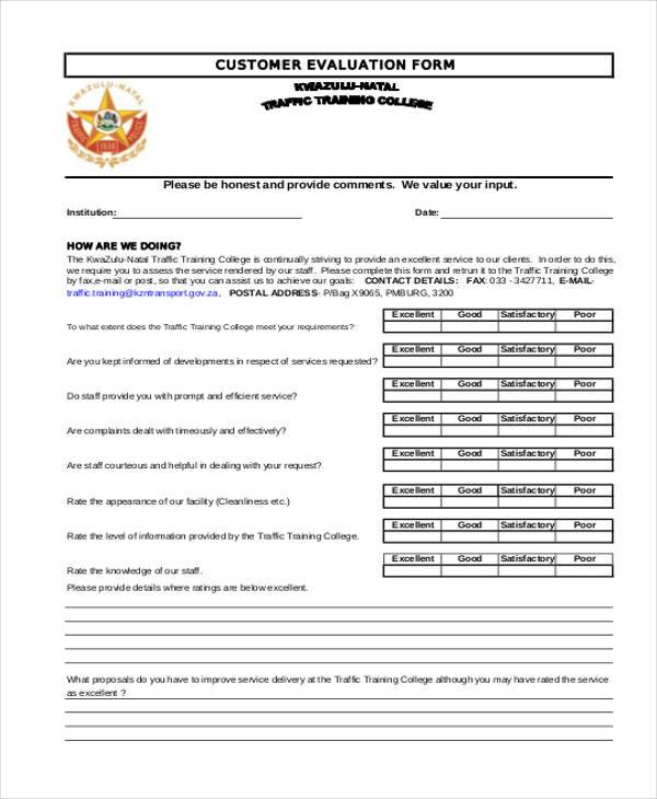 Sample Customer Evaluation Forms - 7+ Free Documents in Word, PDF