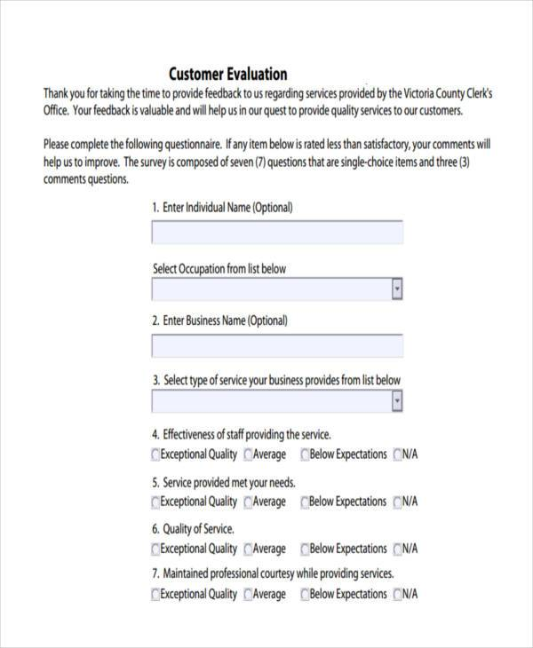customer service evaluation form sample - Militarybralicious - format for feedback form
