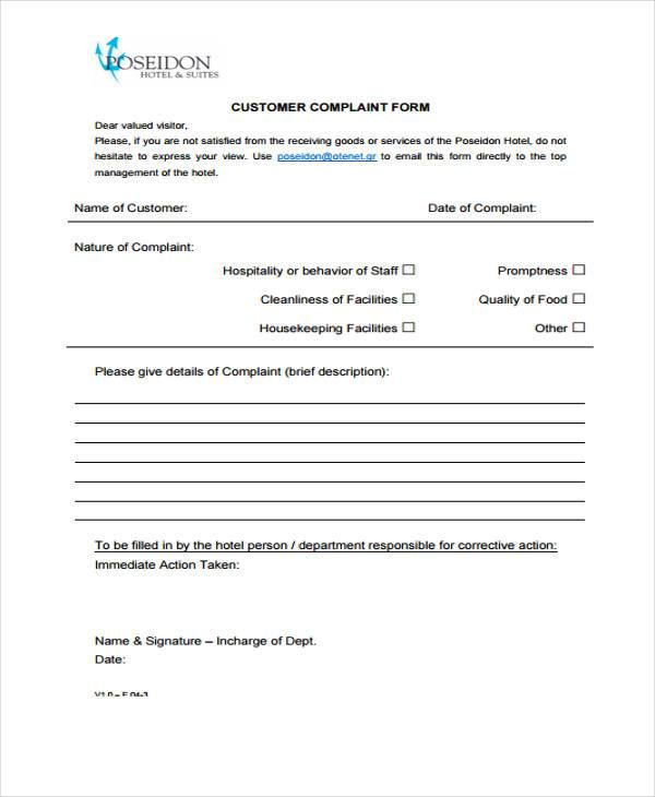 8+ Guest Complaint Form Samples - Free Sample, Example Format Download