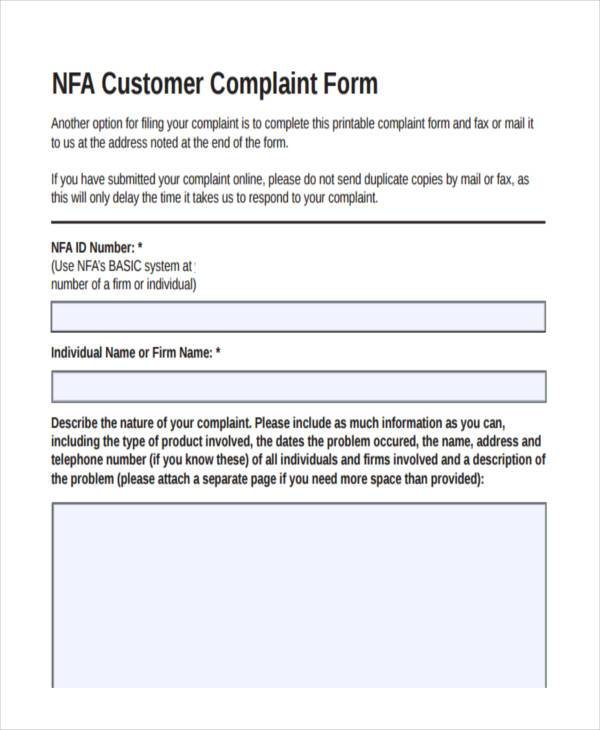 Customer Complaint Form Template amp Sample Form biztreecom - customer complaints form template