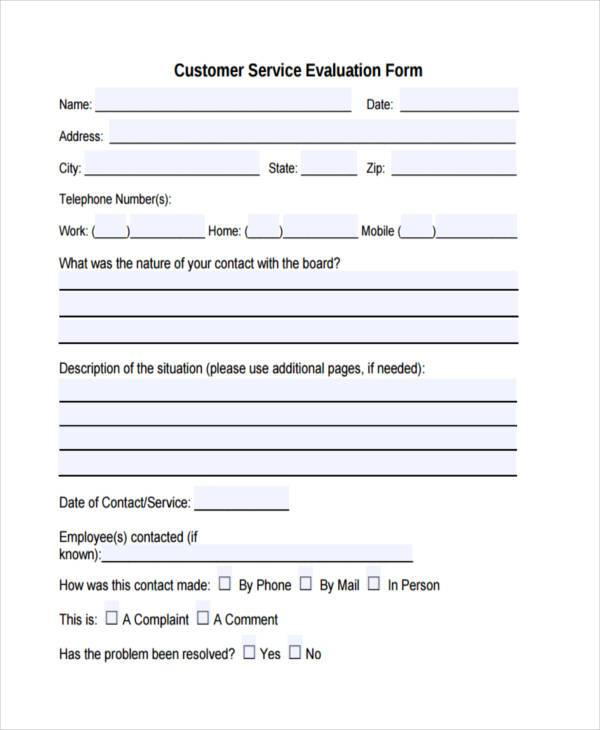 customer service evaluation form template - Maggilocustdesign