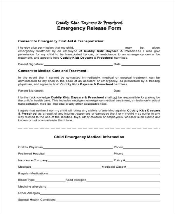 daycare emergency contact form - Selol-ink