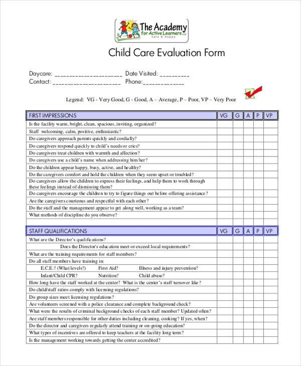 daycare teacher evaluation form Here\u0027s Why You Should - sample teacher evaluation form example