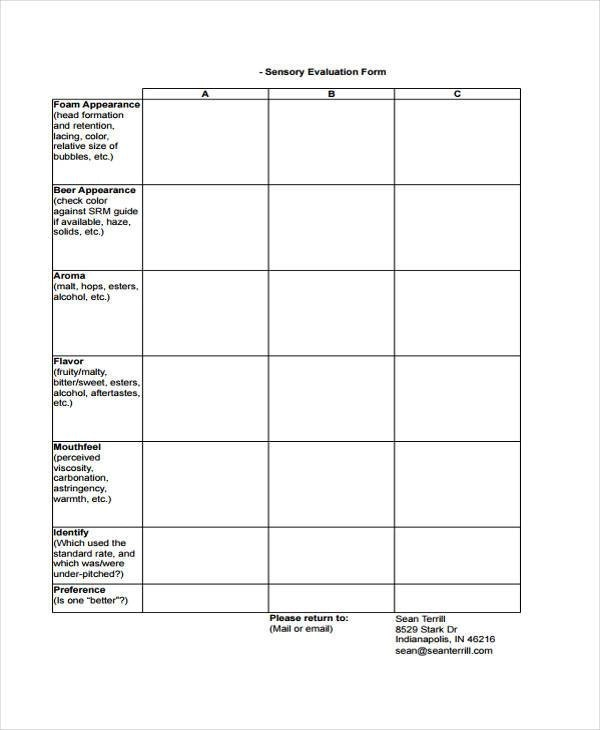 Effective Evaluation Forms Employee Evaluation 7 Sensory Evaluation Form Samples Free Sample Example