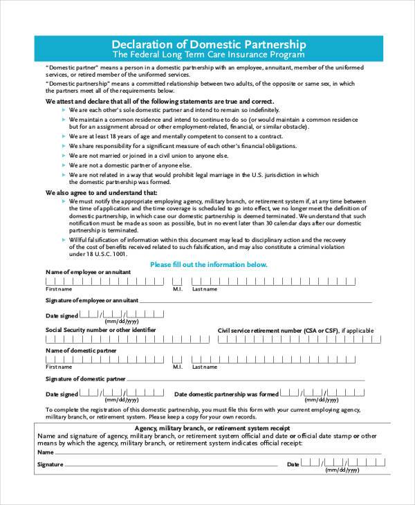 Domestic Partnership Agreement Sample Domestic Partnership - partnership agreement format