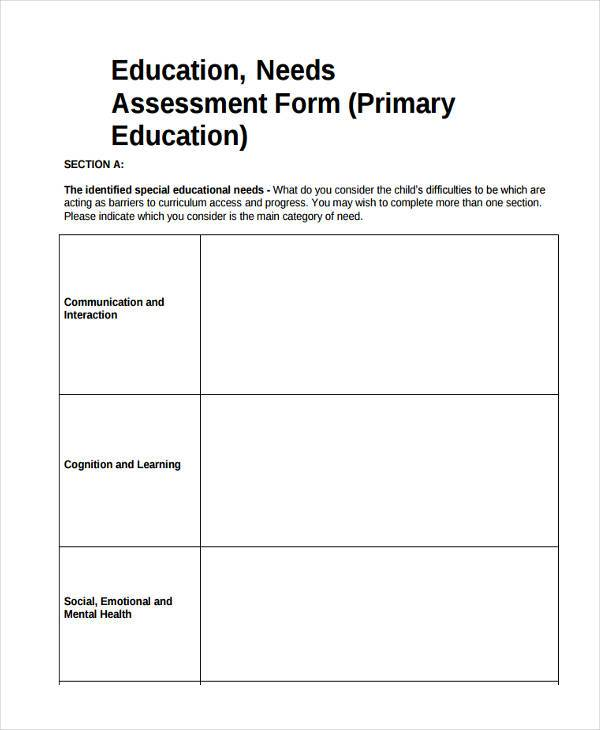 7+ Education Assessment Form Samples - Free sample, Example Format - needs assessment templates
