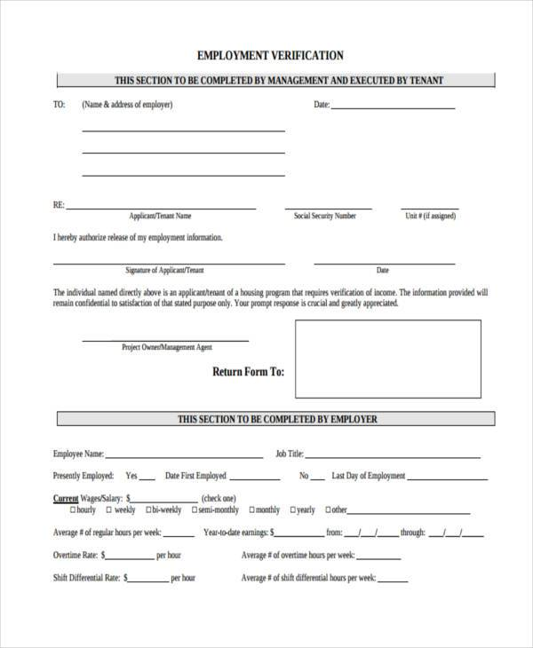 Outstanding Free Employment Verification Form Template Ornament - employment verification form sample
