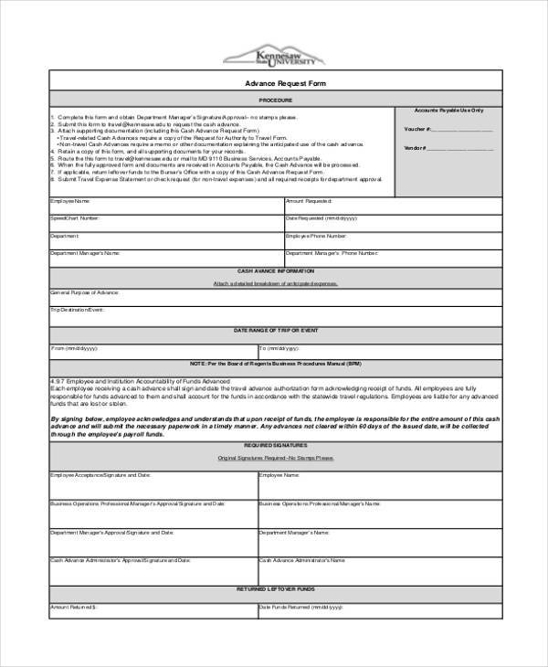 employee advance form  cash advance agreement form payroll