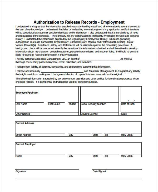 Sample Employee Release Forms - 8+ Free Documents in Word, PDF - sample employment authorization form
