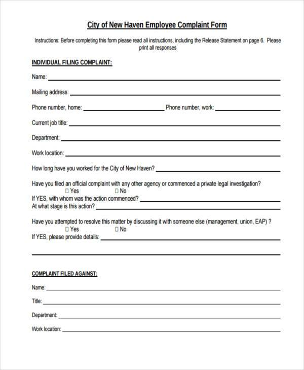 employee details form sample – Employee Complaint Form Example