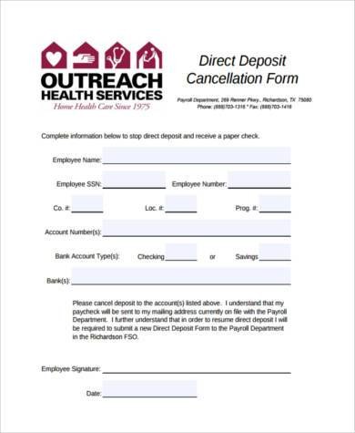 Sample Direct Deposit Cancellation Forms - 7+ Free Documents in Word
