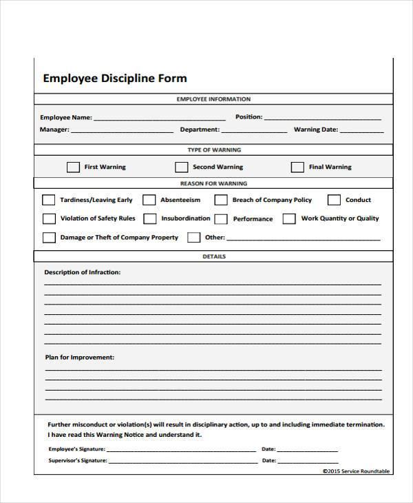 7+ Employee Discipline Form Samples - Free Sample, Example Format - employee discipline form