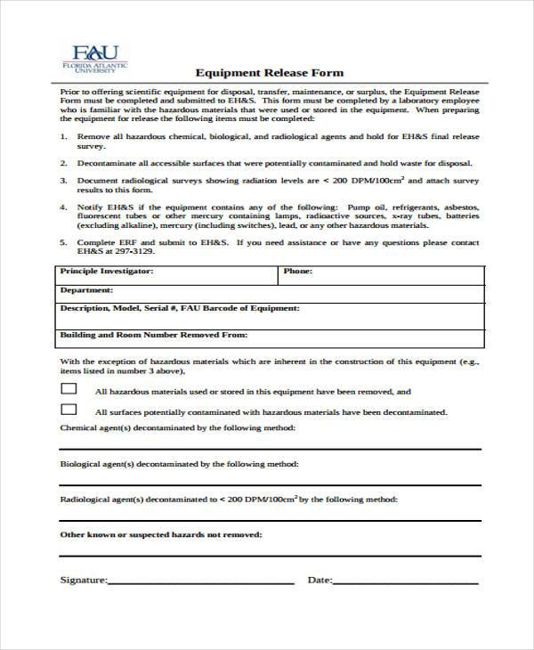 10+ Equipment Release Form Samples - Free Sample, Example Format