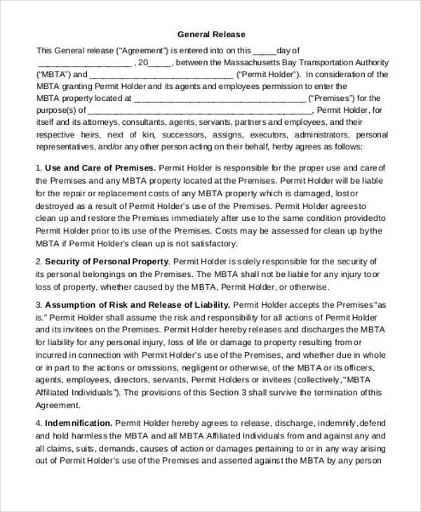Property Damage Release Form Sample Ps Form Third Party Liability - general liability release form template