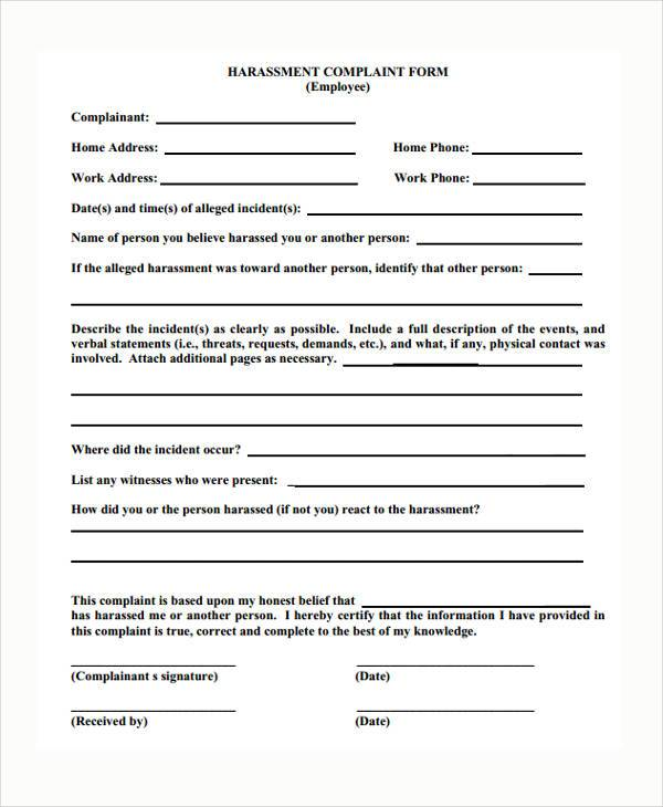 Sample Harassment Complaint Forms - 8+ Free Documents in Word, PDF