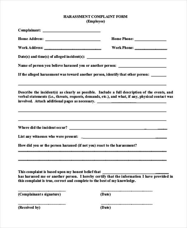 Free Complaint Forms - free customer complaint form template
