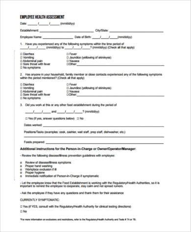 Sample Employee Health Forms - 9+ Free Documents in Word, PDF - sample health assessment