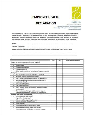 Sample Health Declaration Forms - 8+ Free Documents in Word, PDF