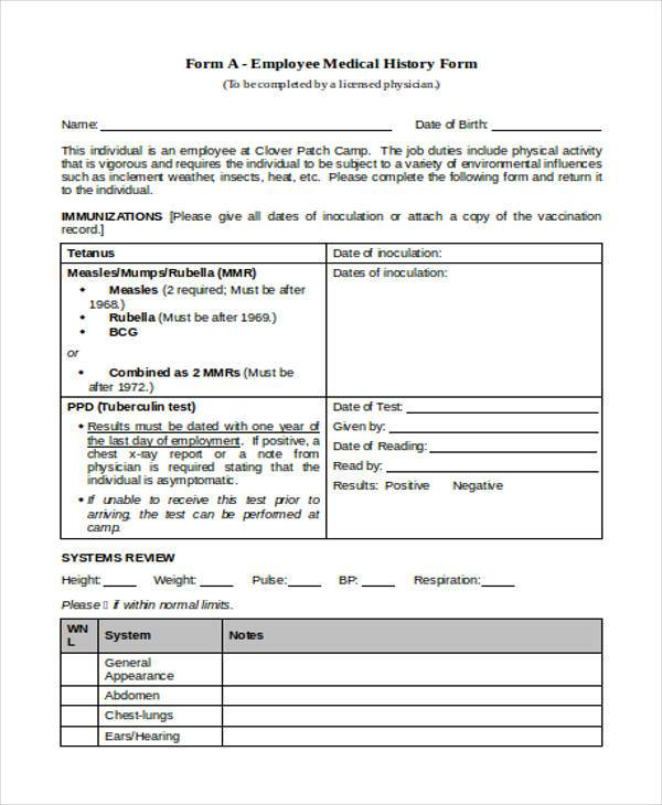 Sample Employee Medical History Forms - 7+ Free Documents in Word, PDF - employee record form
