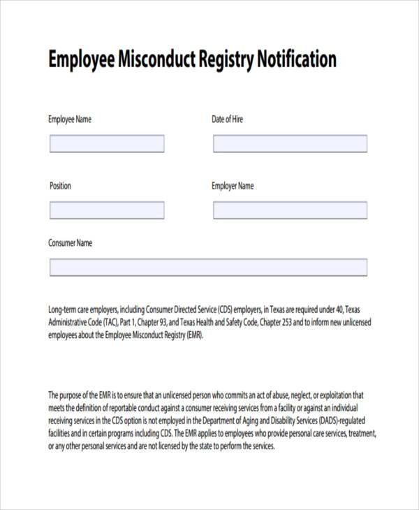 Sample Employee Misconduct Forms - 8+ Free Documents in Word, PDF - writing warning letter for employee conduct