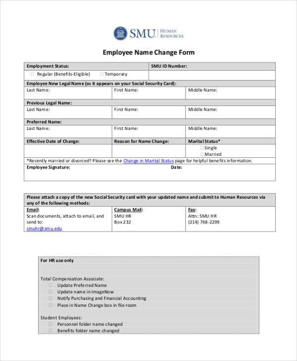 Social Security Name Change Form Change Of Address Form Free