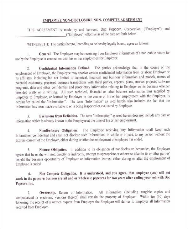 10+ Non-Compete Agreement Form Samples - Free Sample, Example - business non compete agreement