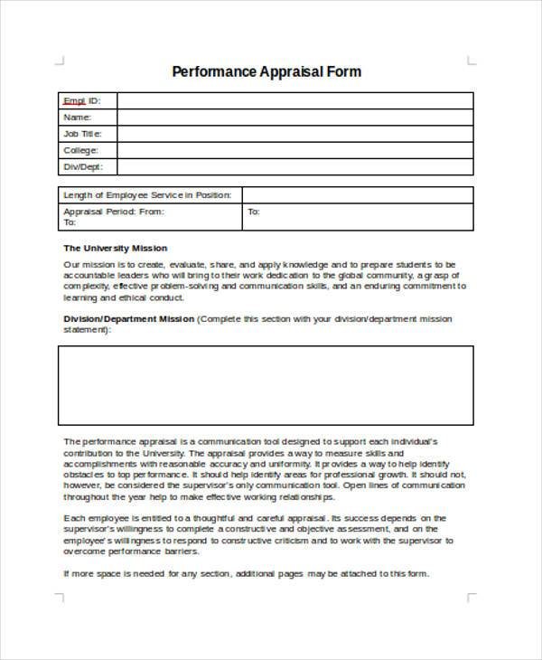appraisal form in doc – Sample Performance Appraisal Forms