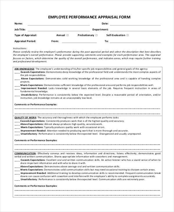 Employee Performance Evaluation Form Free Download  Node