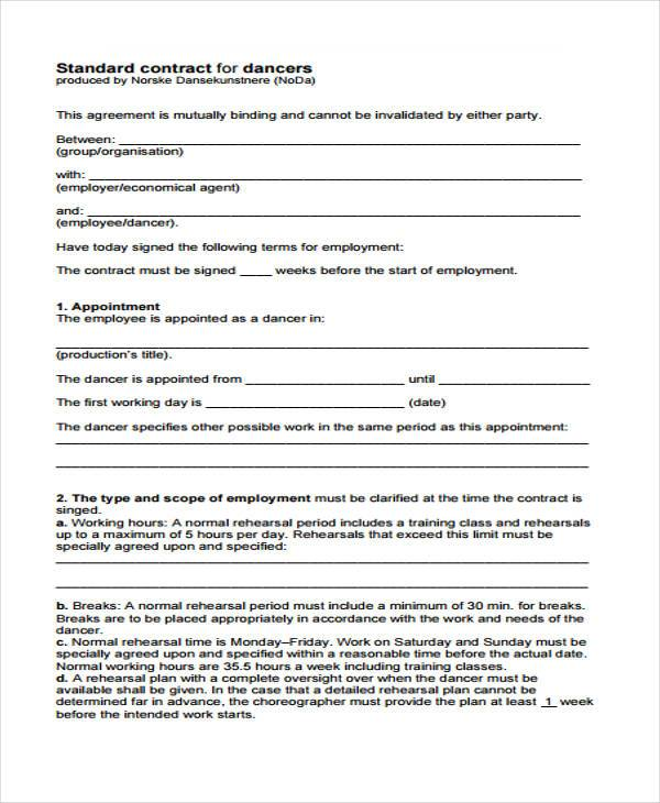 performance contract - Delliberiberi - performance contract template