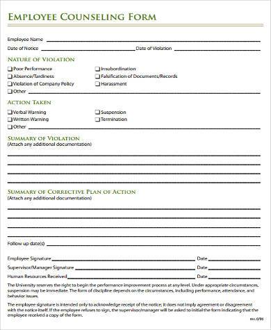 Sample Performance Counseling Forms - 7+ Free Documents in Word, PDF
