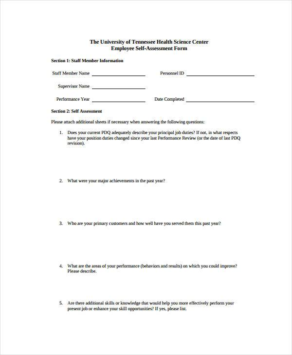 Self Assessment Example 32+ Self Assessment Examples Employee - employee self evaluation form