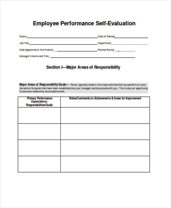 employee self evaluation template - 100 images - bartender - performance self evaluation form