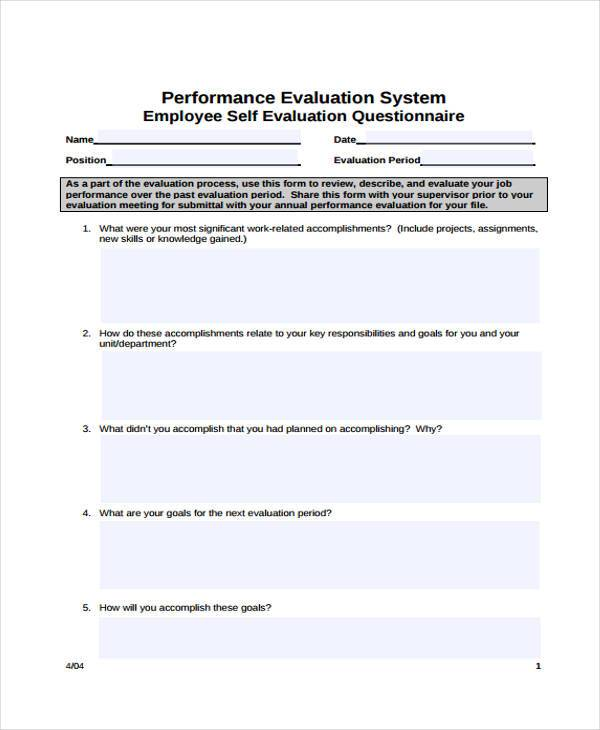 7+ Employee Self-Evaluation Form Samples - Free Sample, Example - Self Evaluation