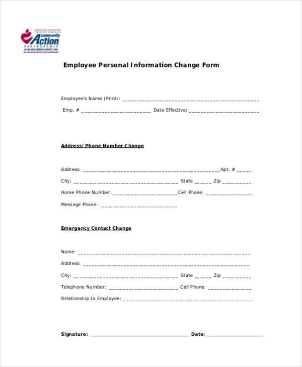 Sample Employee Personal Information Forms - 7+ Free Documents in PDF - employee change form