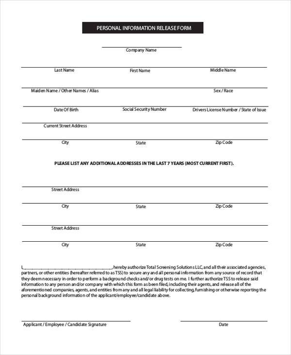 Release Form Employee | Resume Writer Template