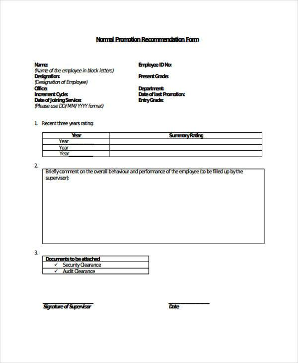 free 9 sample employee promotion forms in pdf