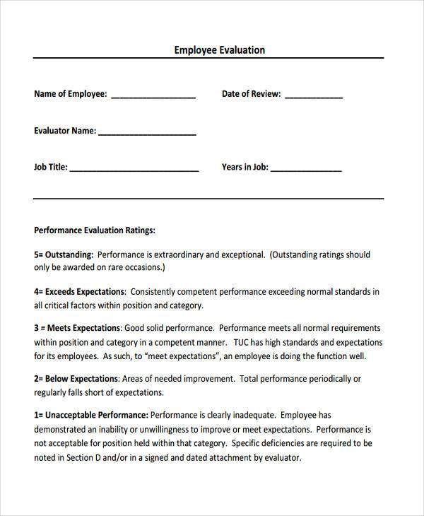Employee Evaluation Form Sample Doc | Resignation Letter For Garments