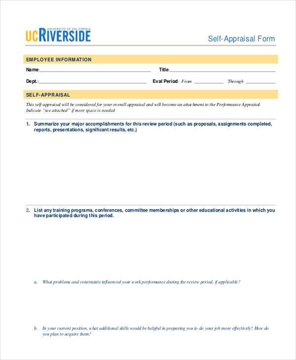 28+ Sample Appraisal Formats - Free Sample, Example, Format ,Download - simple appraisal form