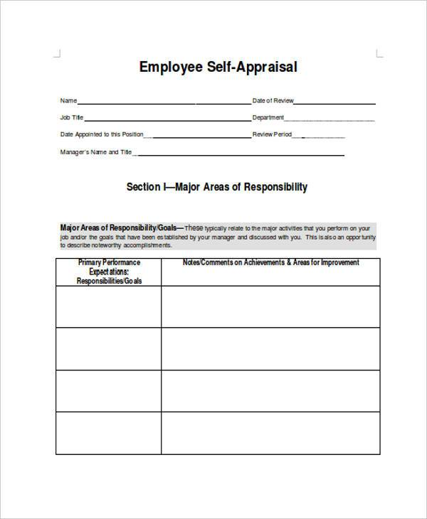 Sample Employee Performance Appraisal Forms - 8+ Free Documents - employee appraisal form sample