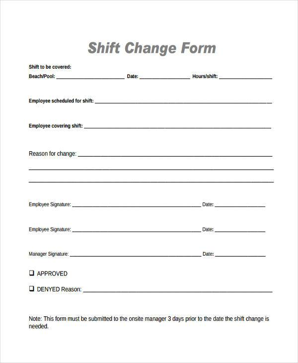 shift change template - Boatjeremyeaton - employee change form