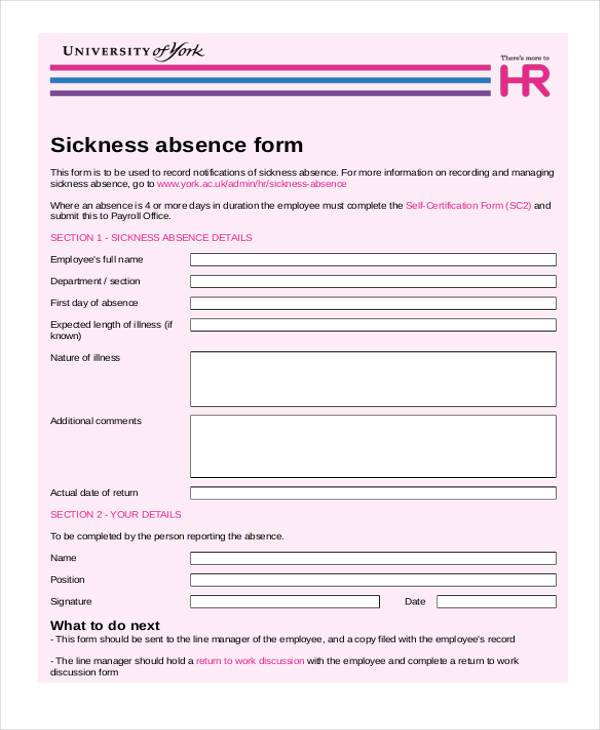 Leave Of Absence Form Application Sample For Leave For Leave ...